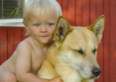 Pojk med hund